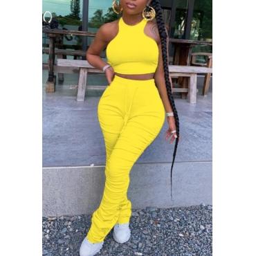 lovely Stylish Fold Design Yellow Two Piece Pants Set