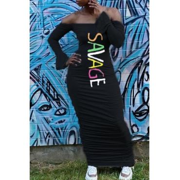 lovely Casual Dew Shoulder Letter Print Black Maxi Dress