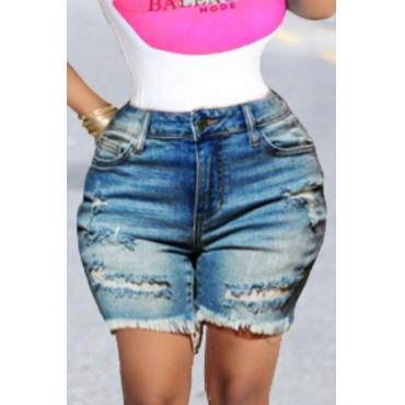 Lovely Stylish Broken Holes Baby Blue Shorts