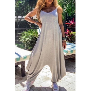 lovely Leisure Basic Loose Greey One-piece Jumpsuit