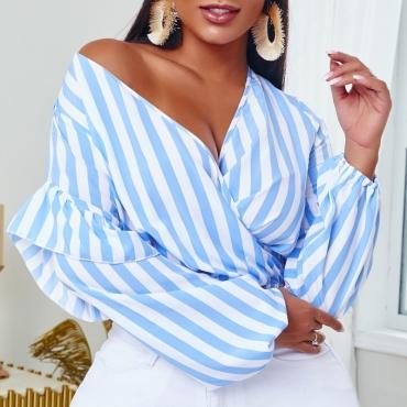 lovely Stylish Striped Blue Blouse