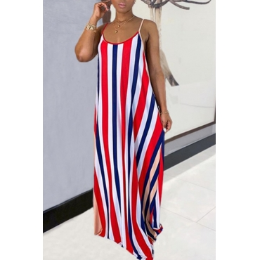 lovely Bohemian Pinstripe Red Maxi Dress