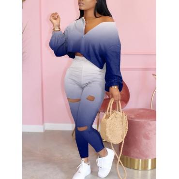 Lovely Trendy Gradual Change Blue Two Piece Pants Set