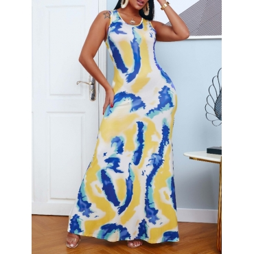 lovely Casual U Neck Print Multicolor Maxi Dress