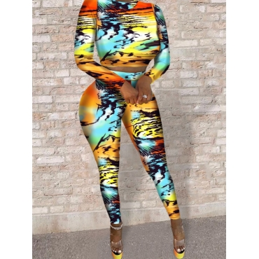 lovely Stylish Print Skinny Orange Two Piece Pants Set