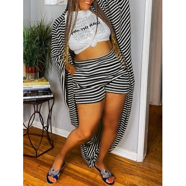 LW Leisure Striped Print Loose Black Two Piece Shorts Set((Batch Striped/Without T-shirt)