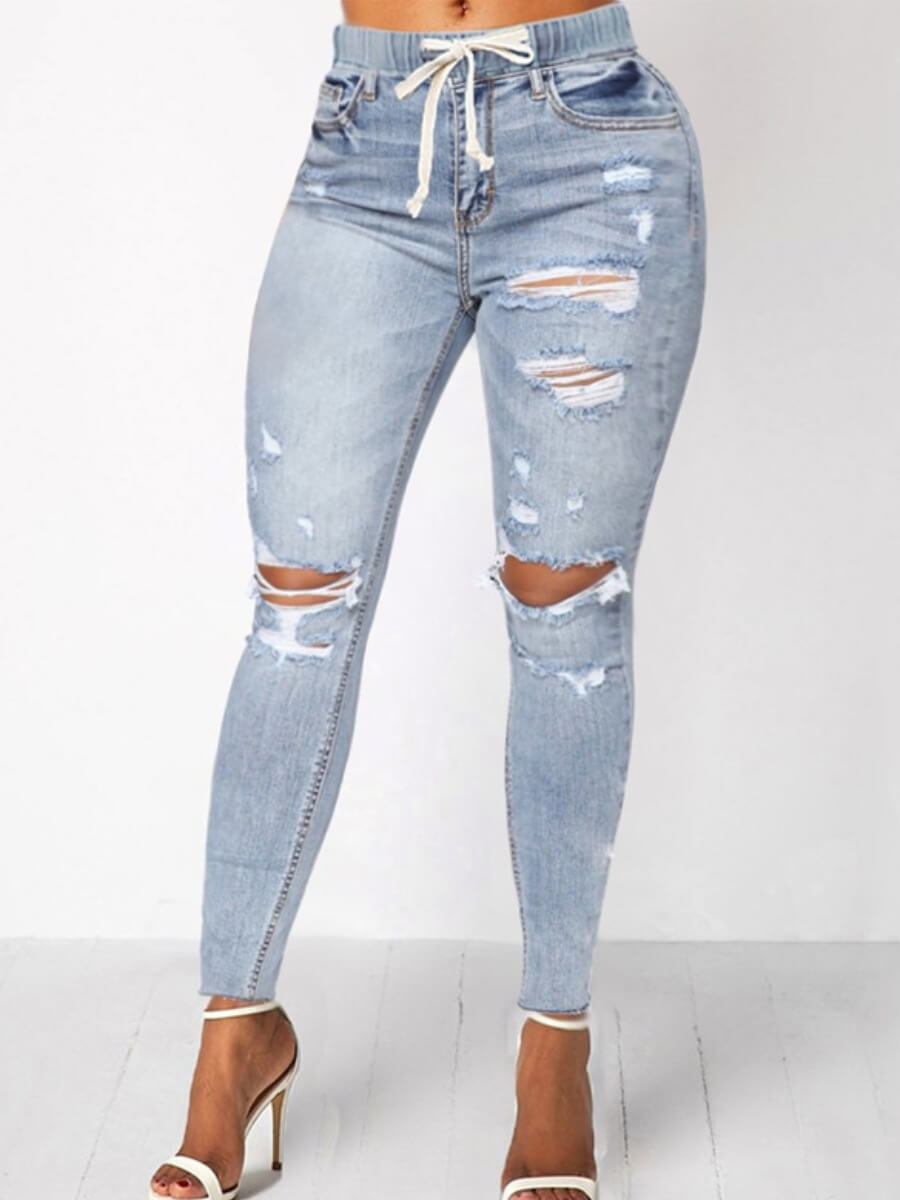 Lovely Casual Hollow-out Baby Blue Jeans фото