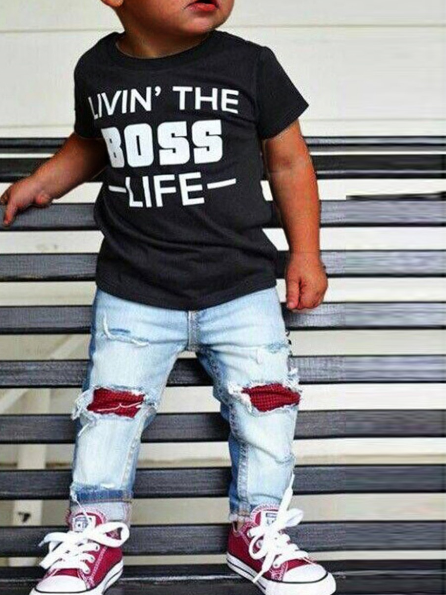 Boys Two-piece Pants Set lovely Casual O Neck Letter Print Black Boy Two-piece Pants Set фото