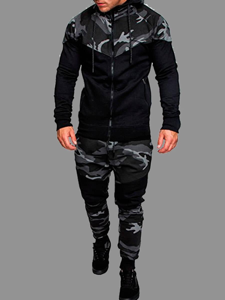 LW Men Sportswear Hooded Collar Zipper Design Camo Print Grey Two-piece Pants Set