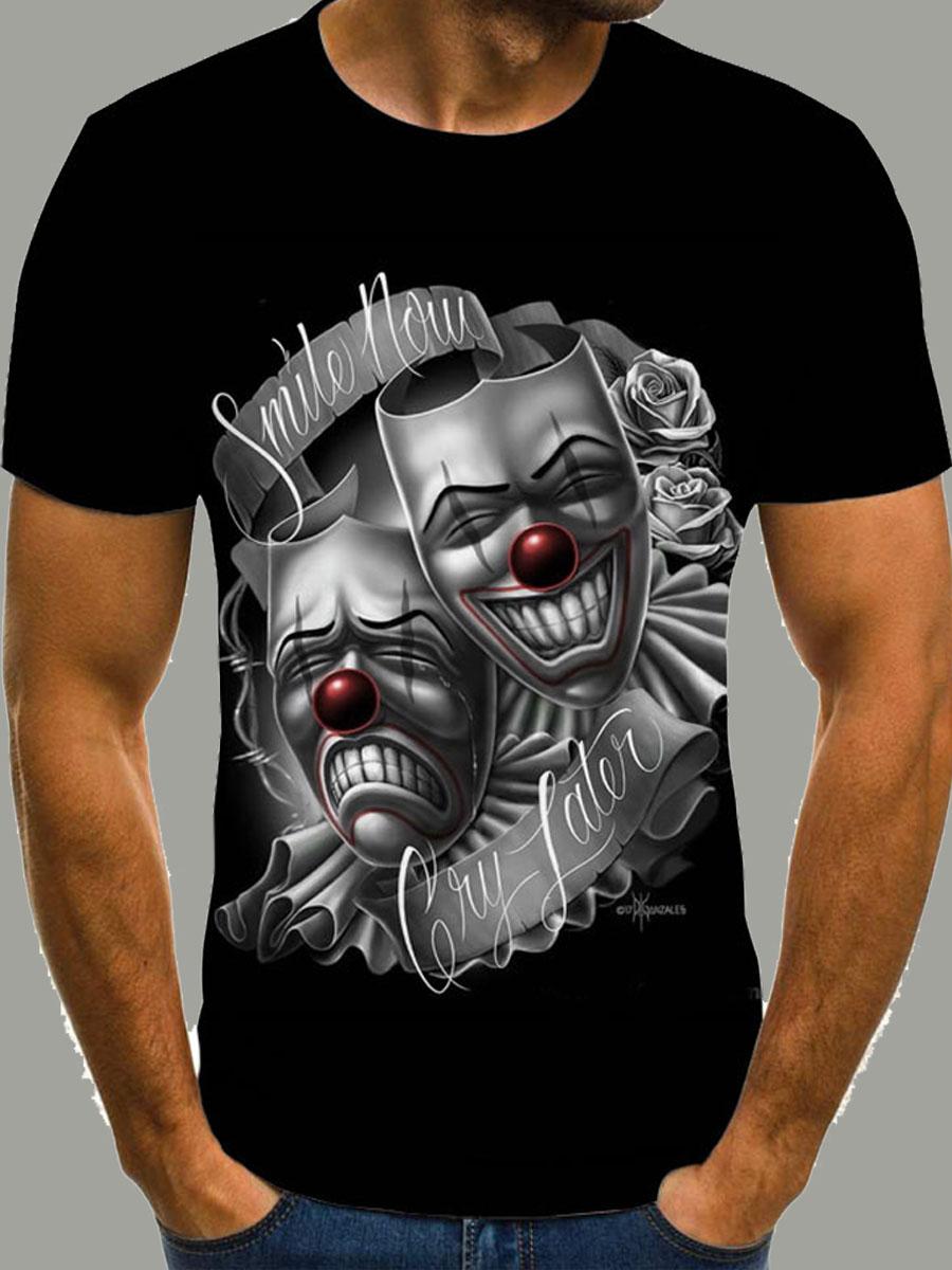 Lovely Casual O Neck Skull Print Pitch-black Men T-shirt фото