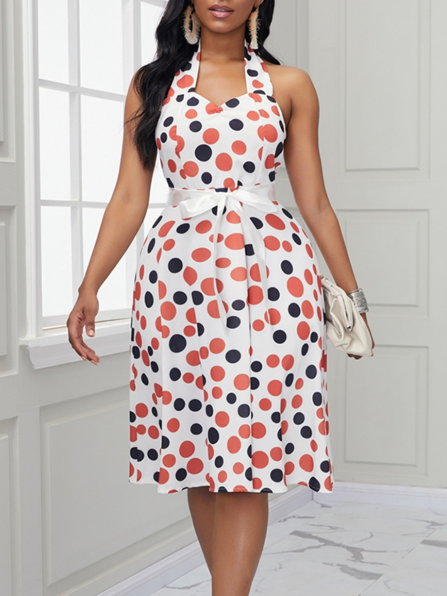 Lovely Trendy Backless Dot Print White Knee Length Dress фото