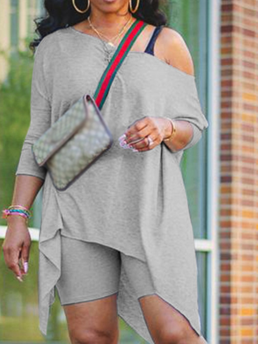 Two-piece Shorts Set Lovely Leisure Oblique Neck Asymmetrical Grey Two Piece Shorts Set фото