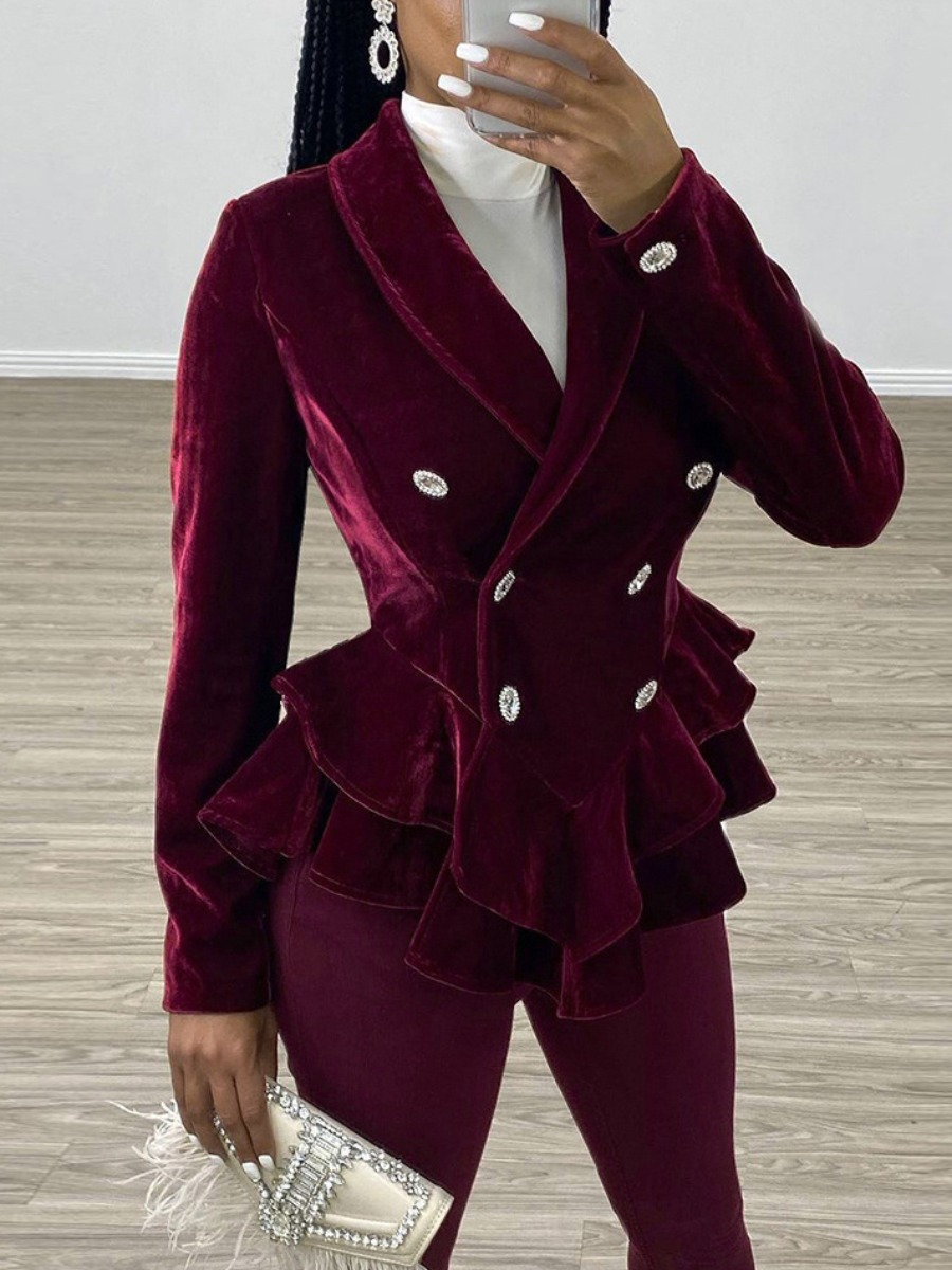 Coat&Jacket lovely Stylish Flounce Design Buttons Design Wine Red Coat фото