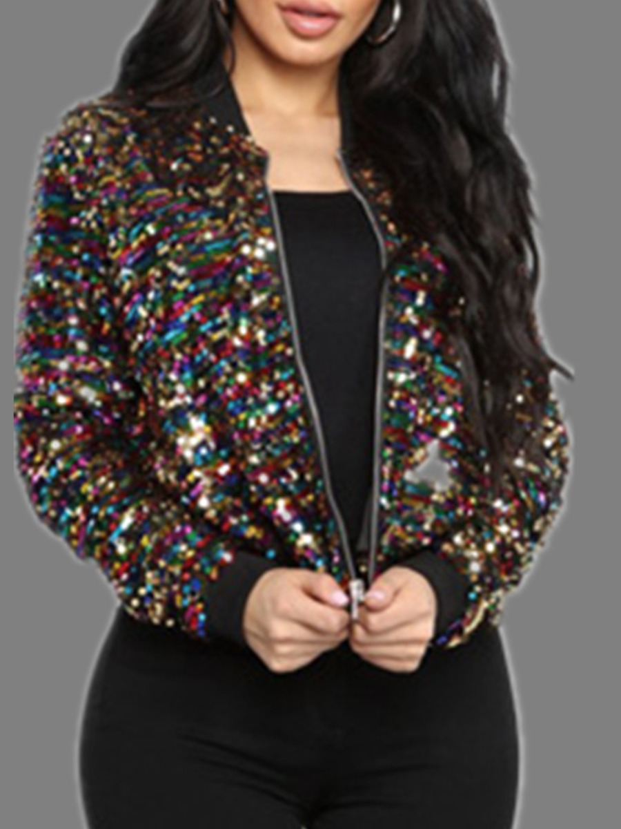 Coat&Jacket lovely Casual Sequined Zipper Design Multicolor Jacket фото