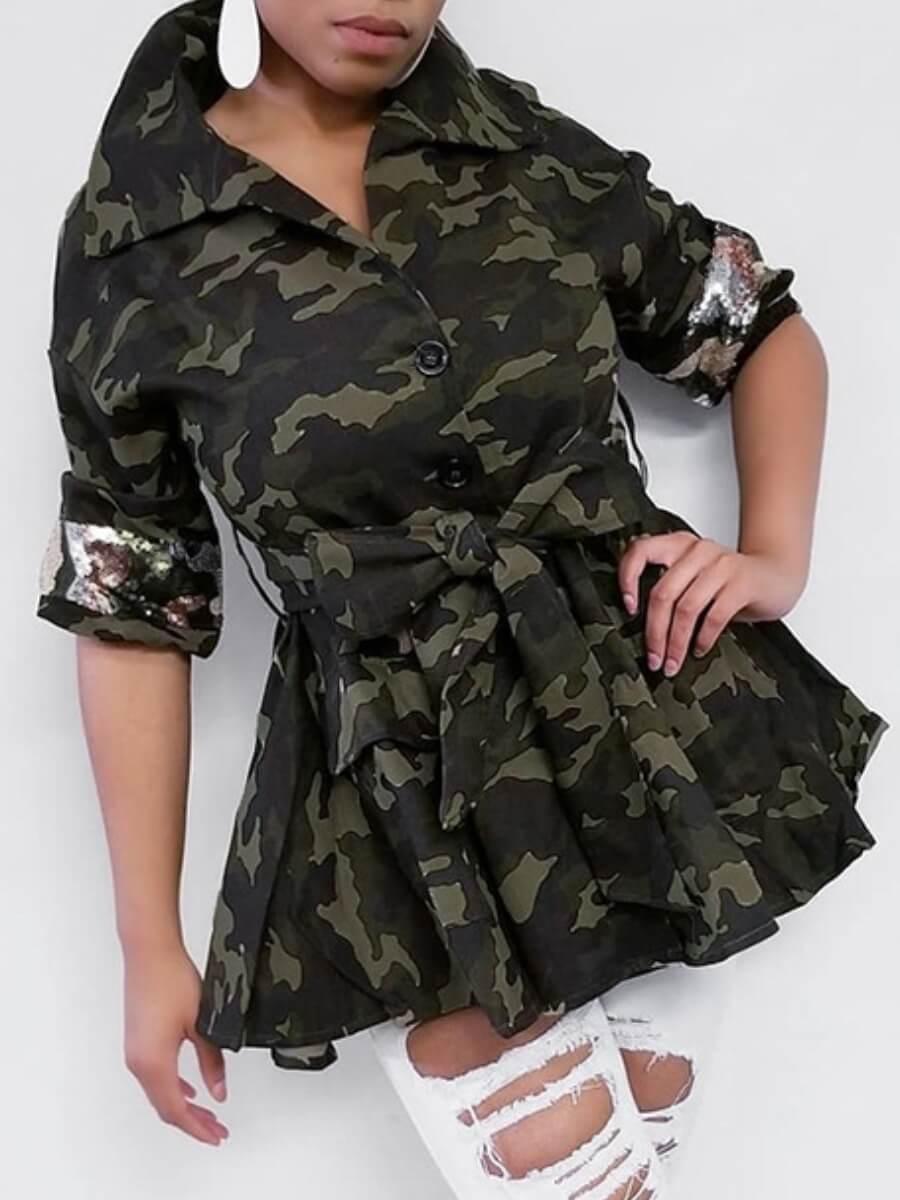 Lovely Trendy Turndown Collar Camo Print Coat