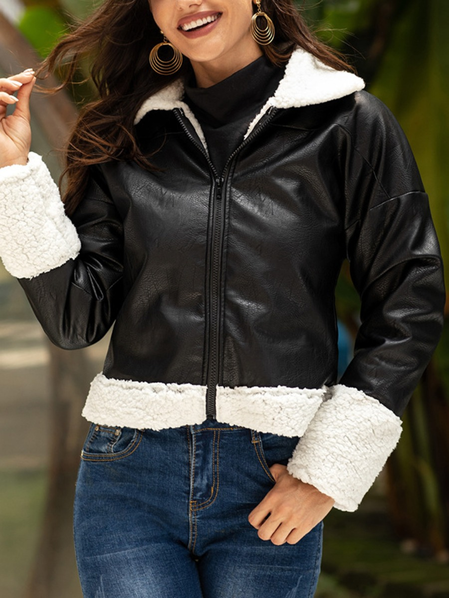 Coat&Jacket lovely Stylish Patchwork Black Coat фото