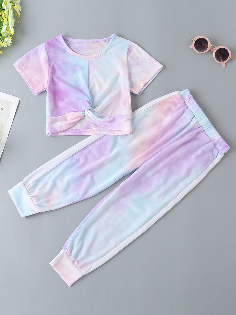 Girls Two-piece Pants Set lovely Street O Neck Tie-dye Purple Girl Two-piece Pants Set фото