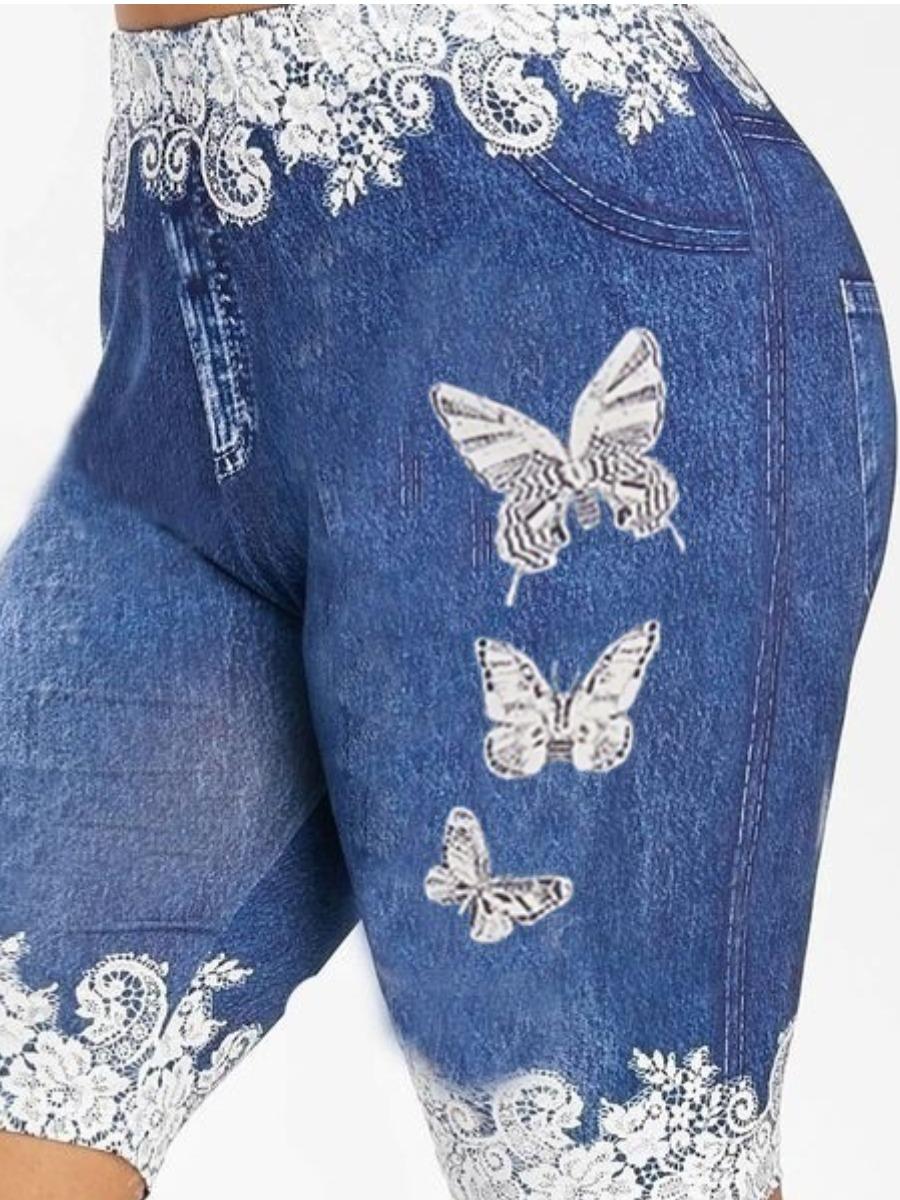 Activewear lovely Sportswear Butterfly Print Blue Shorts фото