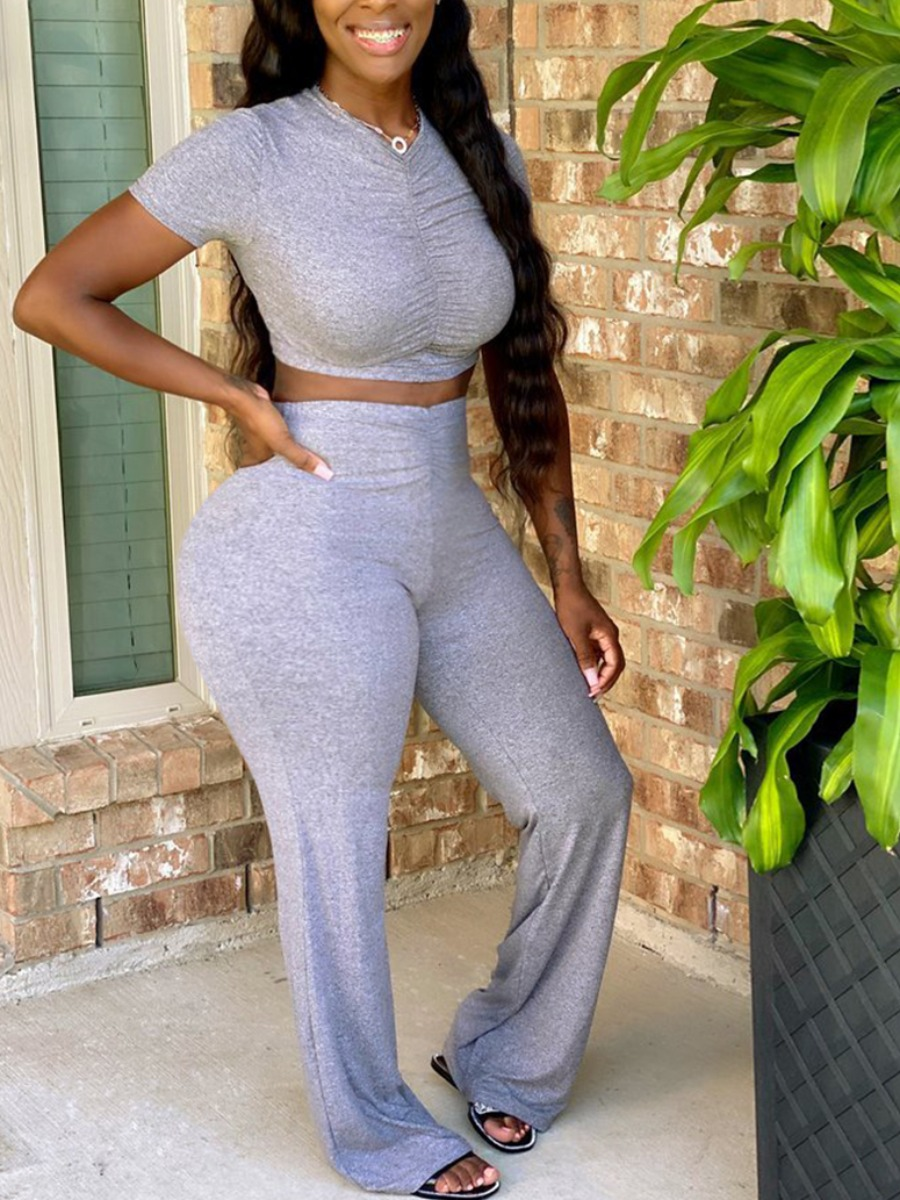 Lovely Casual V Neck Fold Design Grey Plus Size Two-piece Pants Set фото