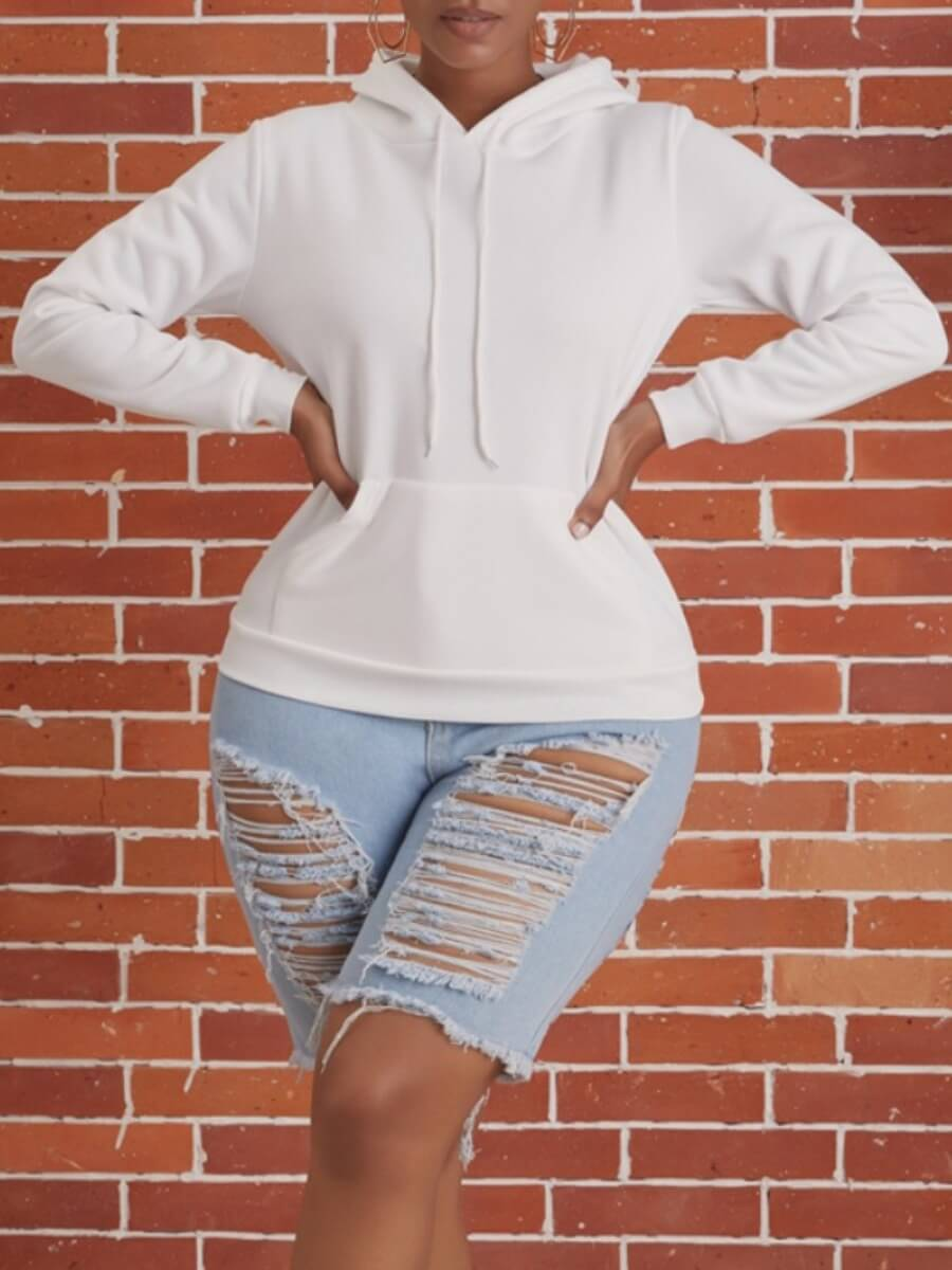 Hoodies lovely Sportswear Hooded Collar Basic White Hoodie фото