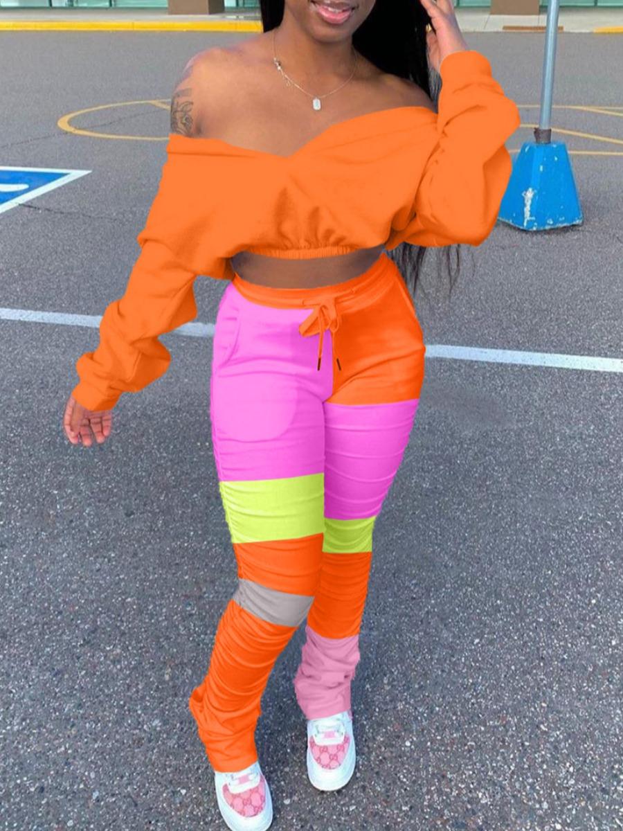 Two-piece Pants Set Lovely Trendy Dew Shoulder Color-lump Patchwork Orange Two Piece Pants Set фото