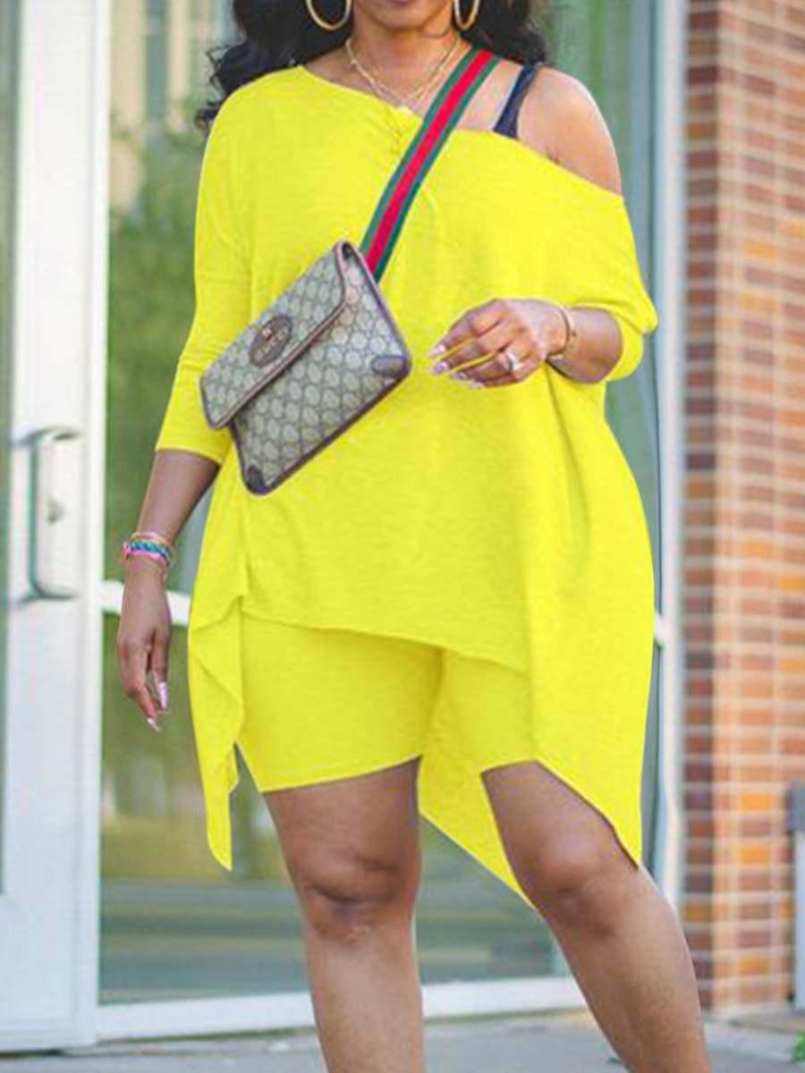 Lovely Casual Asymmetrical Yellow Plus Size Two-piece Shorts Set фото