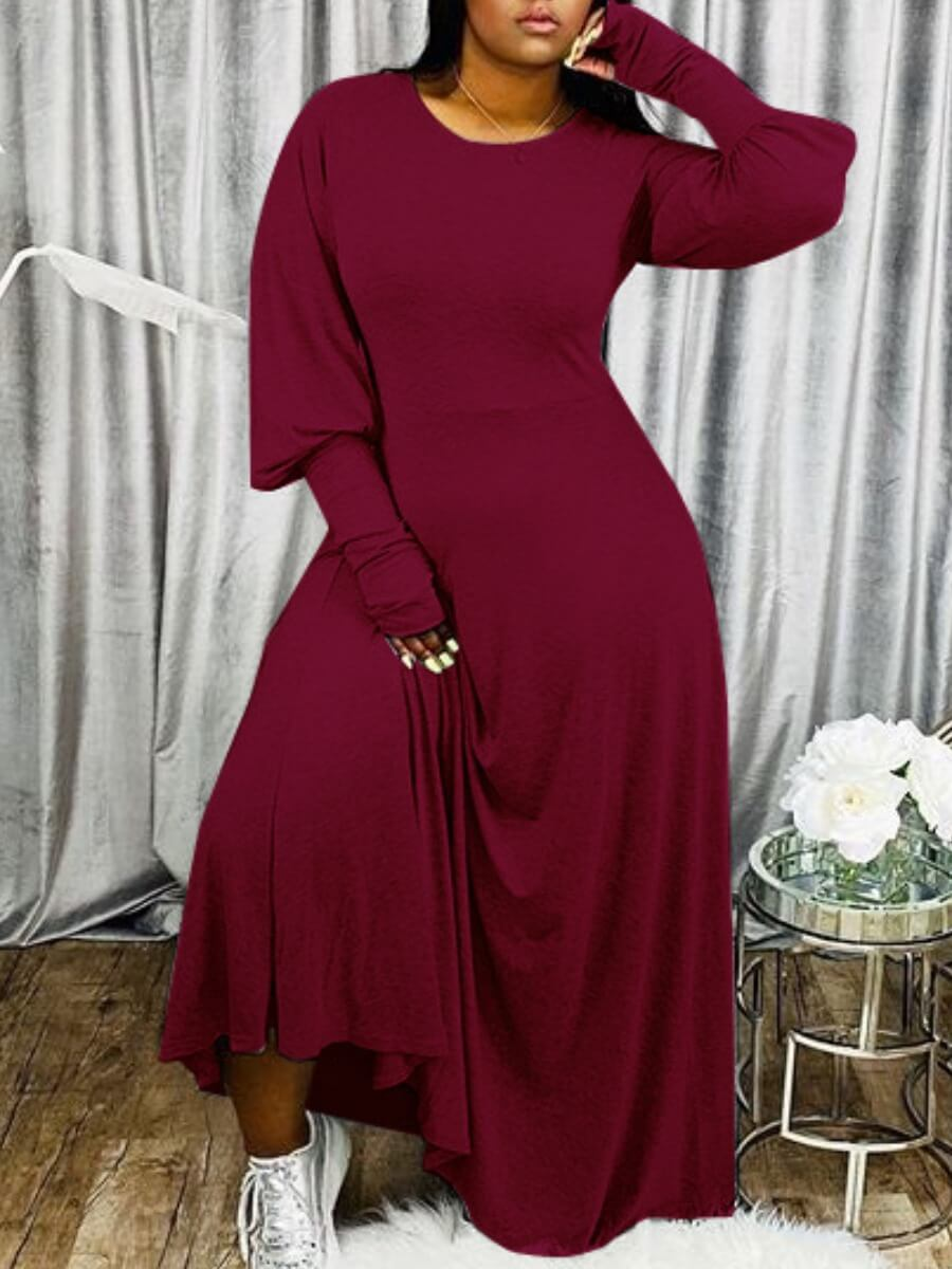 Lovely Casual Puffed Sleeves Loose Wine Red Maxi Dress фото