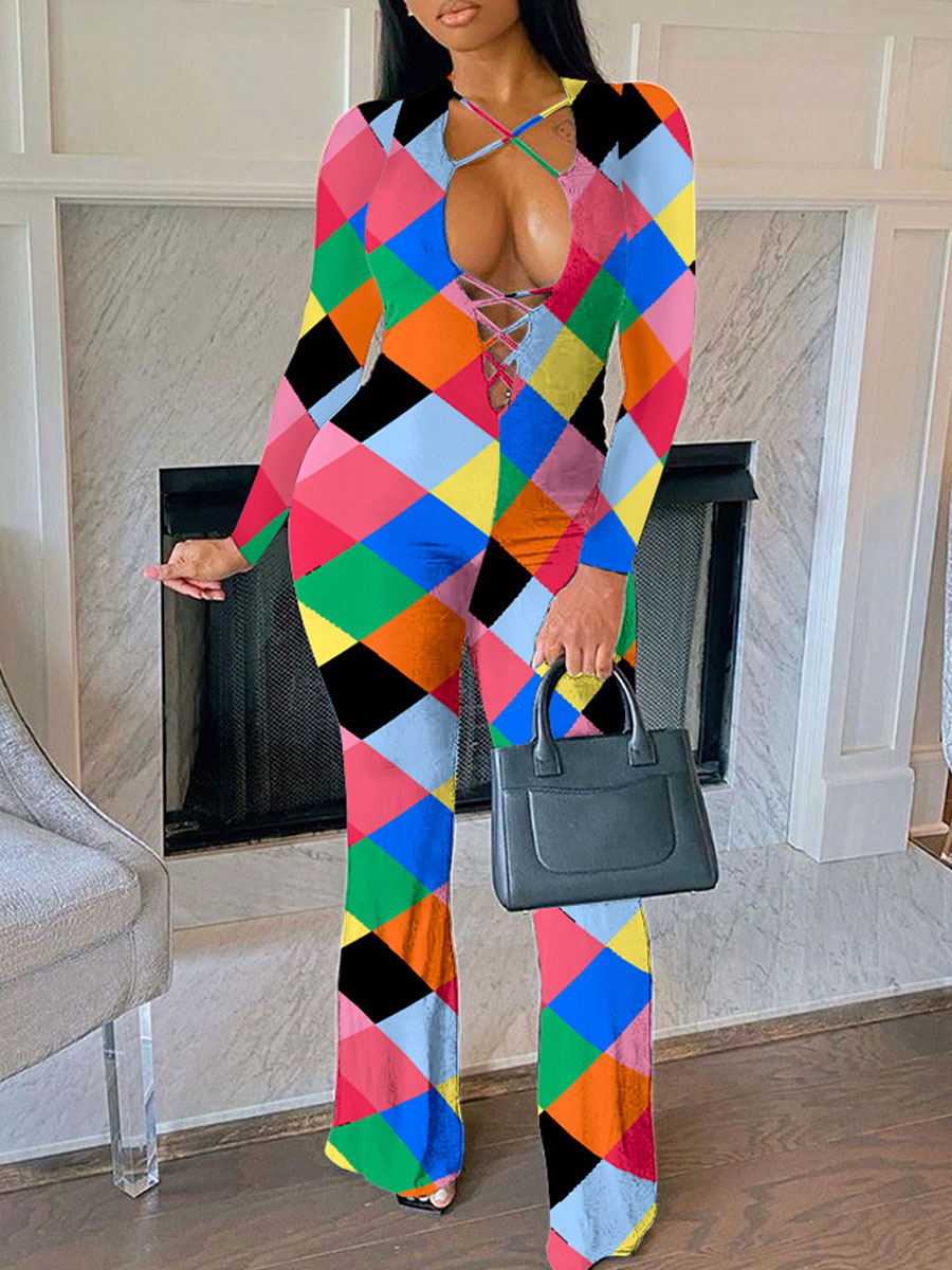 Lovely Trendy Grid Print Bandage Design Pink One-piece Jumpsuit(Batch Print) фото