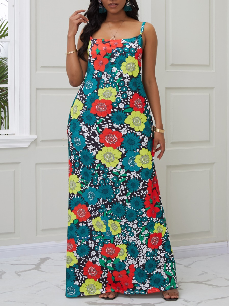 Lovely Trendy Spaghetti Strap Floral Print Green Maxi Dress фото
