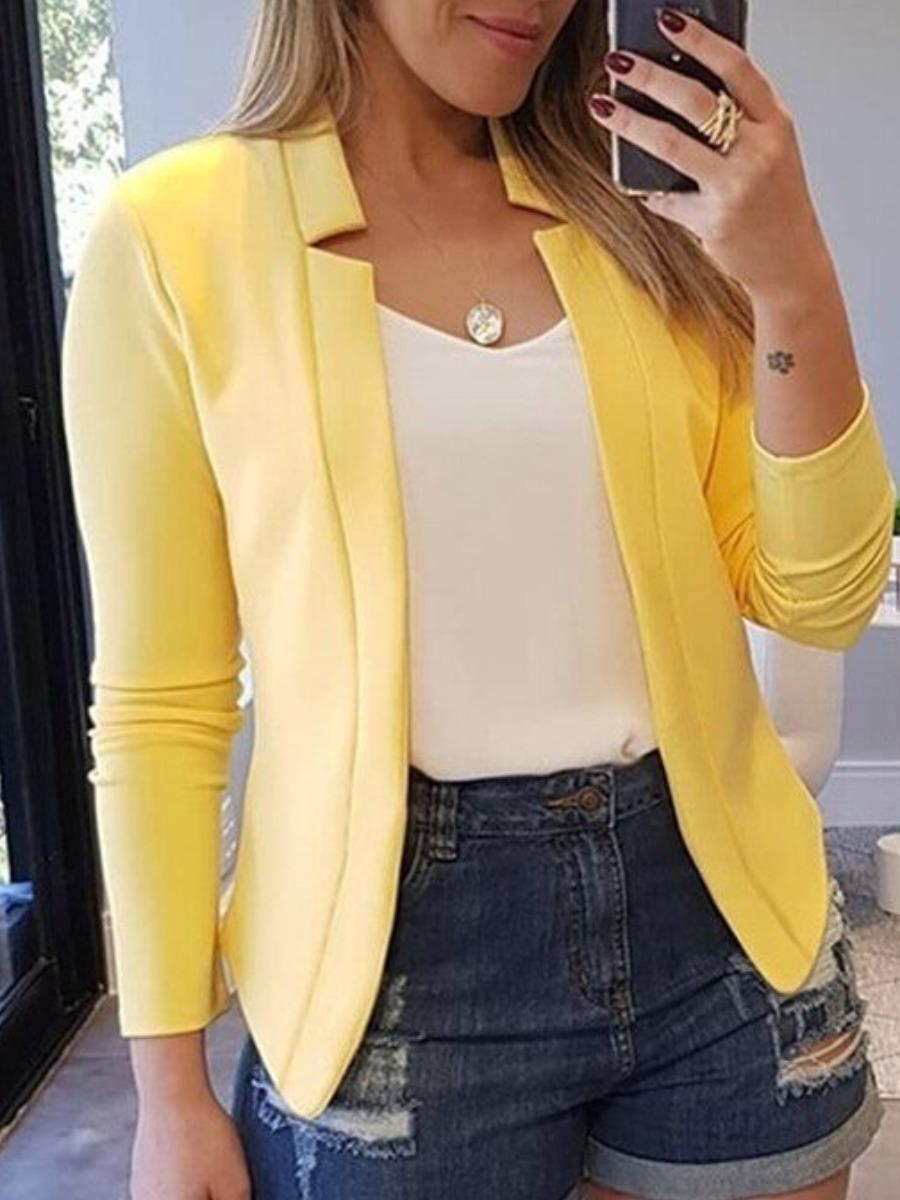 lovely Casual Turndown Collar Basic Yellow Blazer