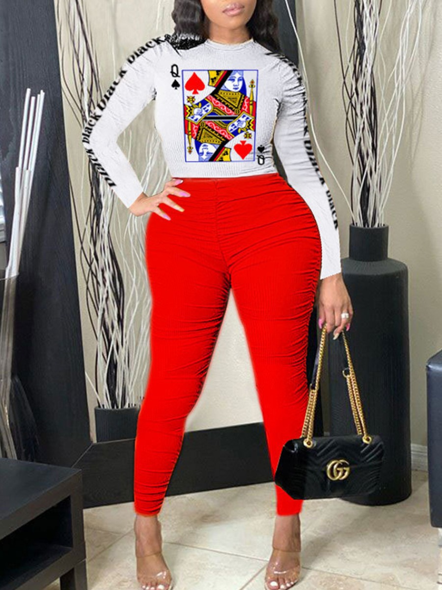 lovely Leisure O Neck Print Fold Design Red Plus Size Two-piece Pants Se