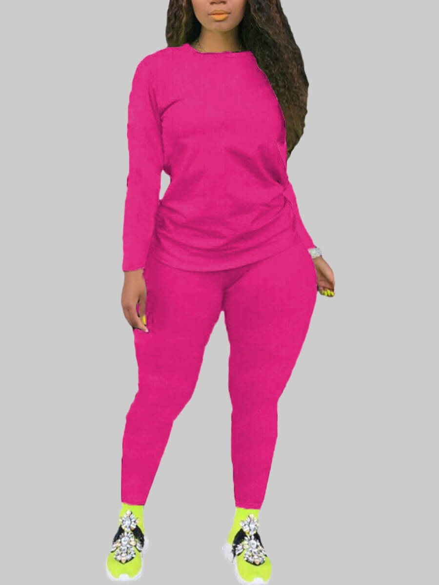 Lovely Leisure O Neck Basic Rose Red Plus Size Two-piece Pants Set фото