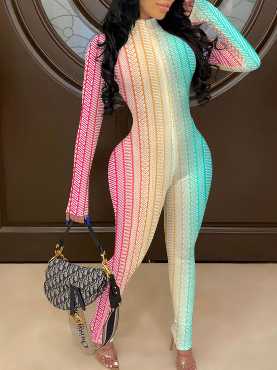 Lovely Stylish Striped Print Zipper Design Multicolor One-piece Jumpsuit фото
