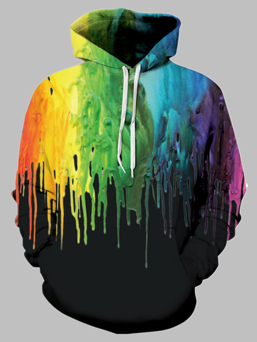 Hoodies lovely Casual Hooded Collar Graffiti Print Black Hoodie фото