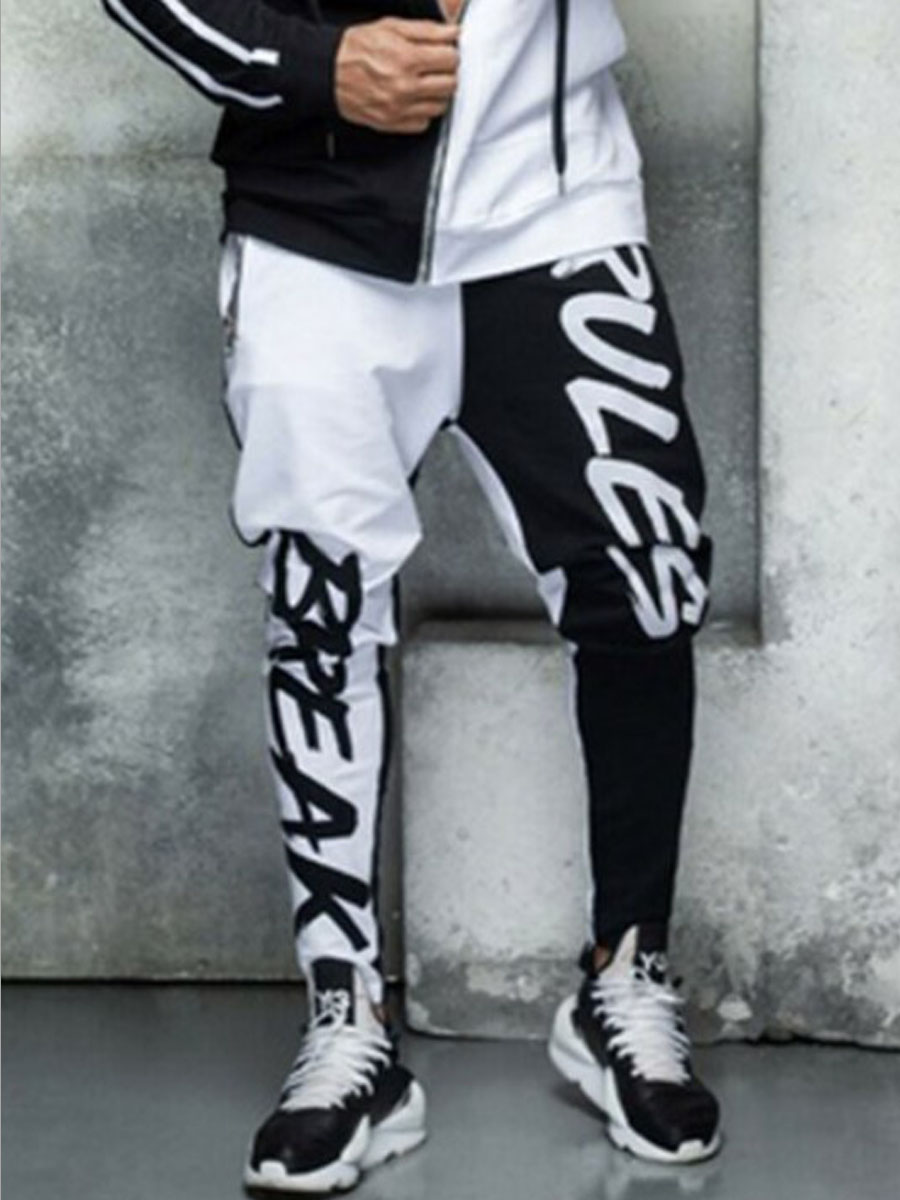 Pants/Capris lovely Casual Print Patchwork White Men Pants фото
