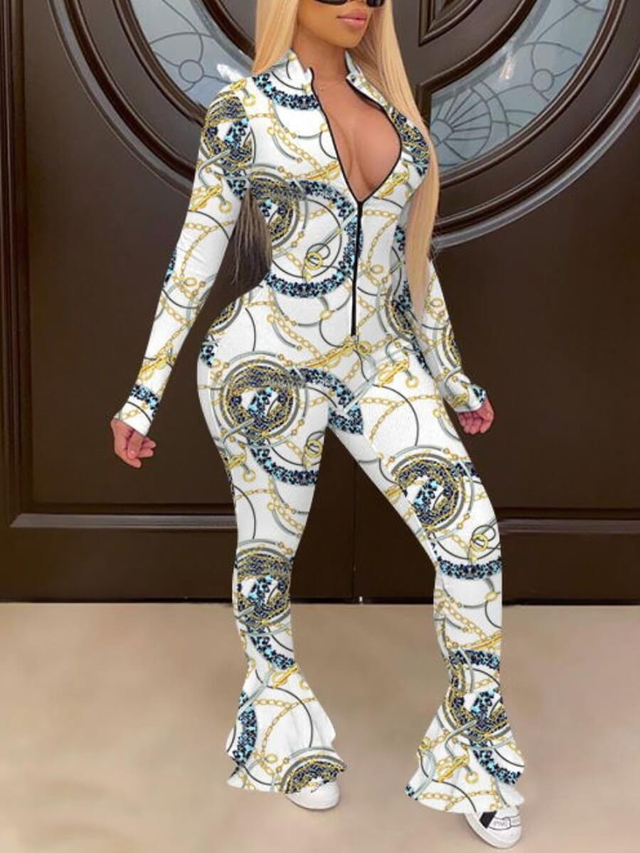 Lovely Trendy Zipper Design Print White One-piece Jumpsuit фото