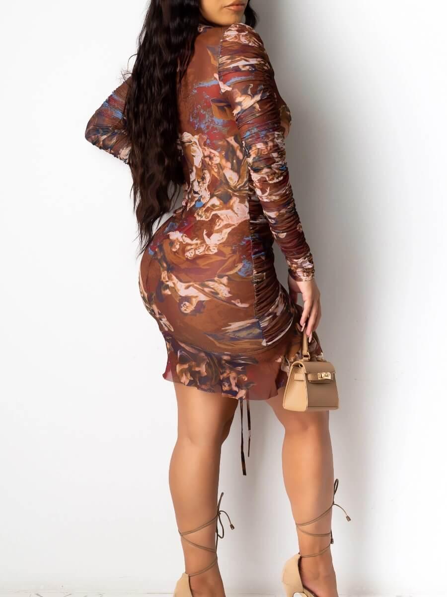 Lovely Casual Print Fold Design Brown Mini Dress
