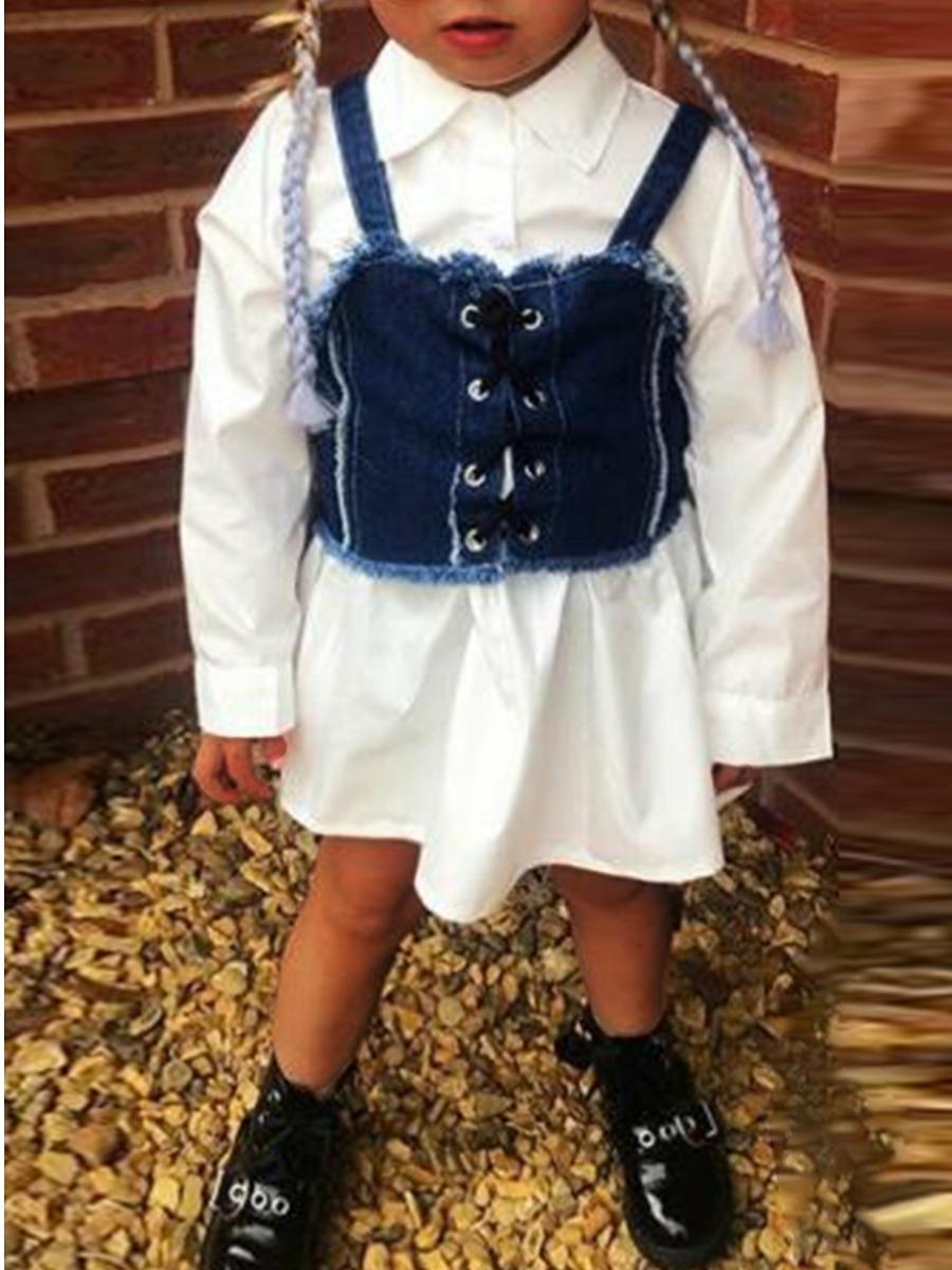 Girls Dress lovely Trendy Turndown Collar Bandage Design White Girl Mini Dress фото