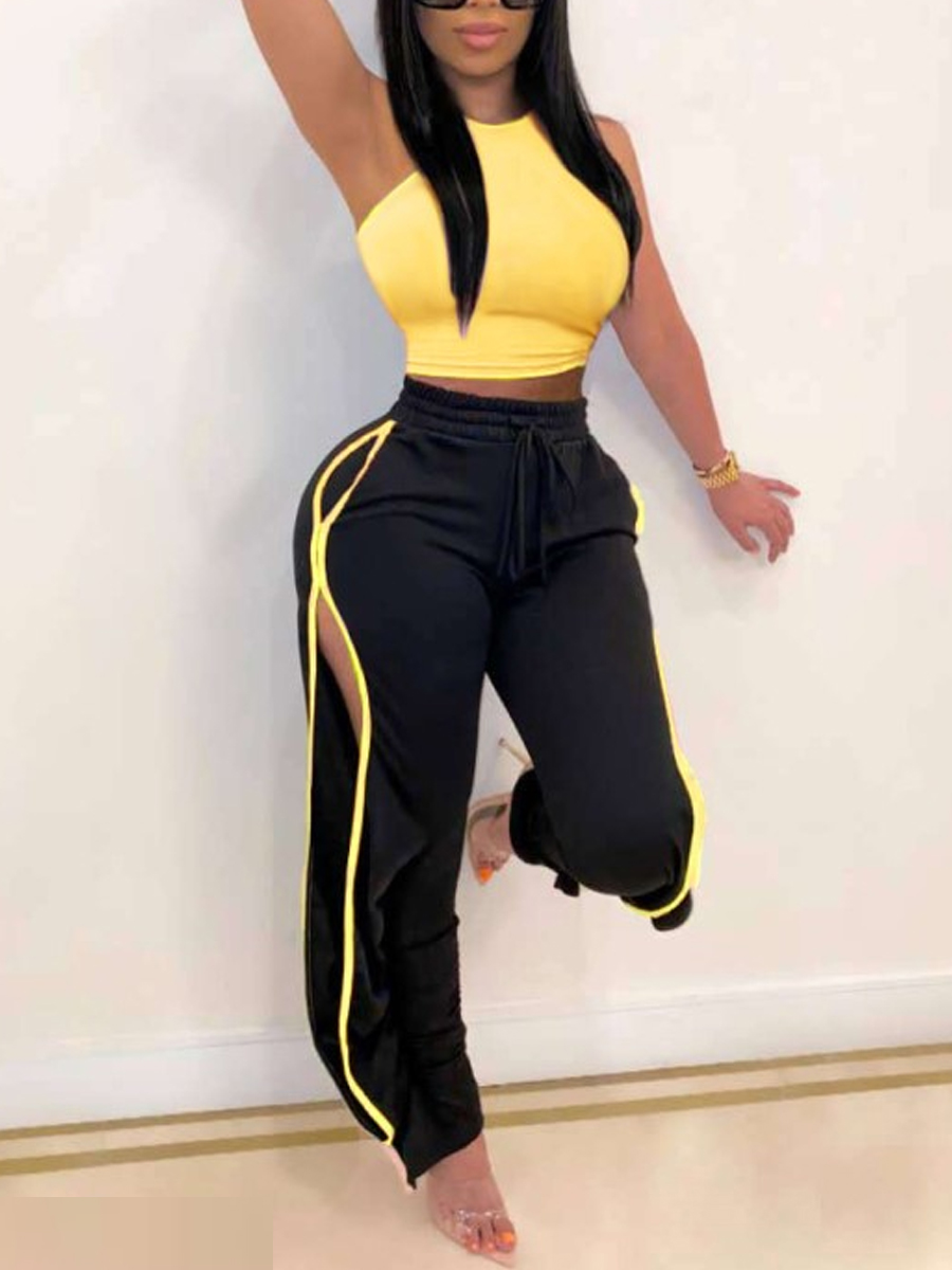 Two-piece Pants Set lovely  Sportswear Patchwork Hollow-out Yellow Two Piece Pants Set фото
