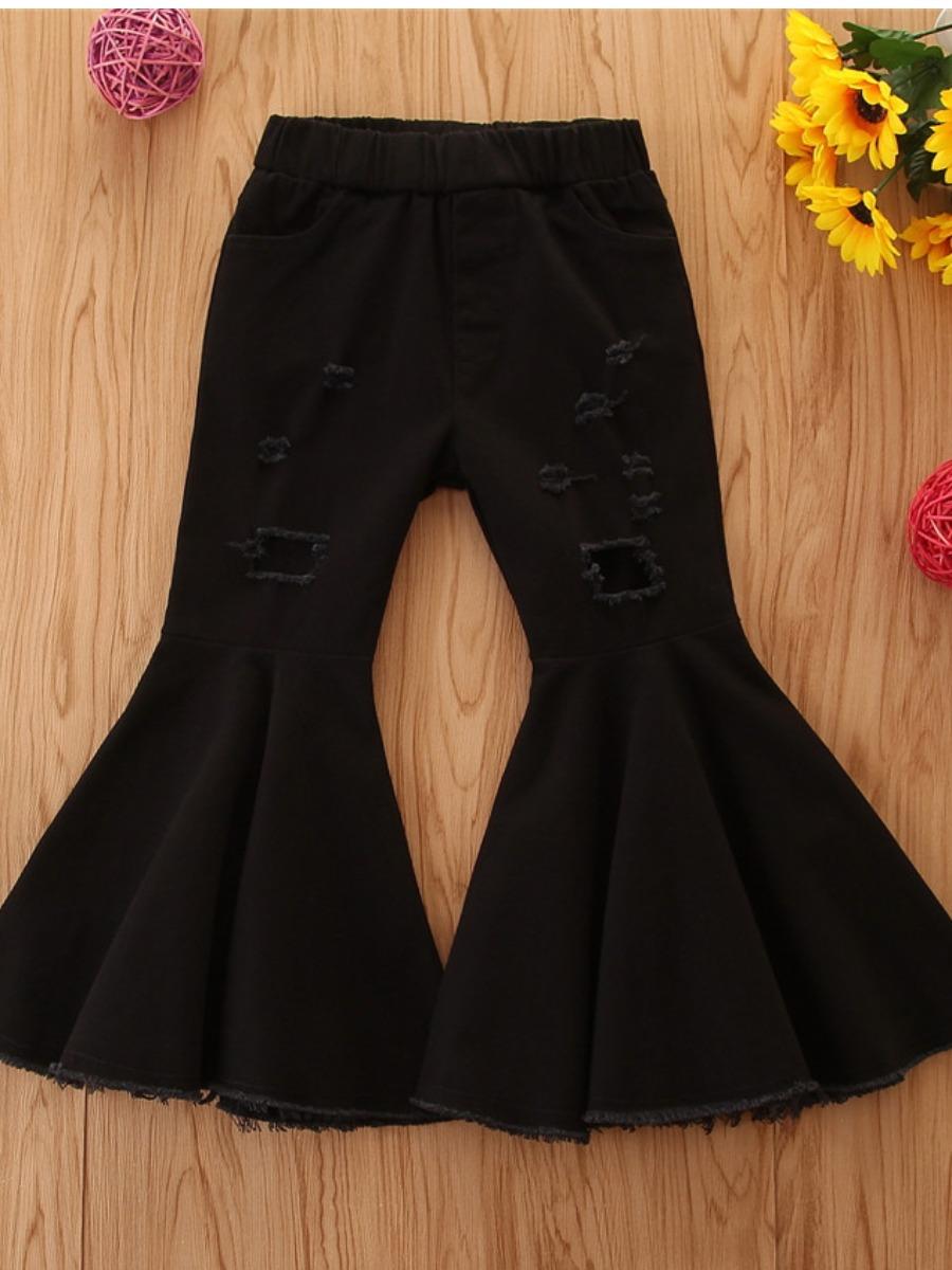 Girls Jeans lovely Trendy Broken Holes Flared Black Girl Jeans фото