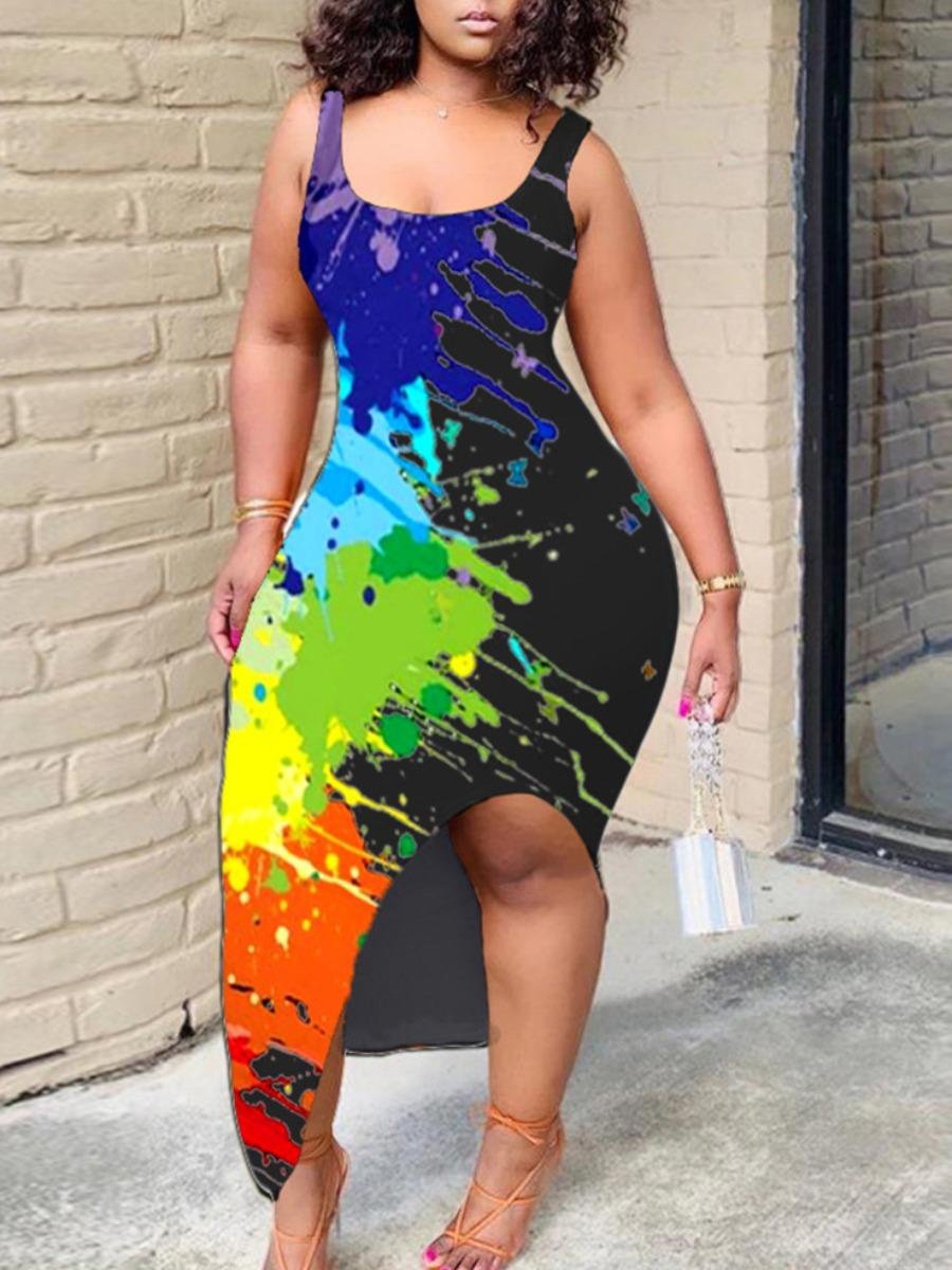 Lovely Trendy U Neck Graffiti Print Black Ankle Length Plus Size Dress фото