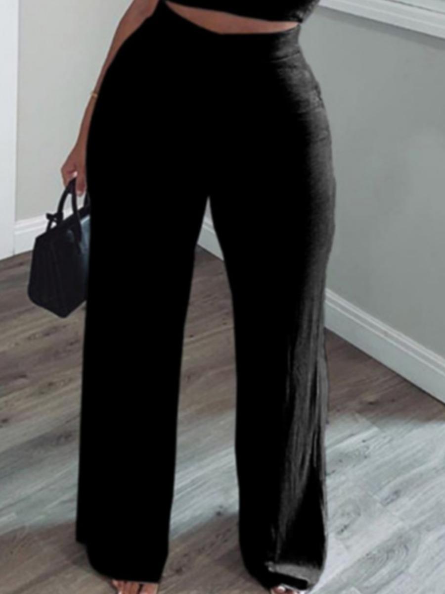 Lovely Casual Basic Loose Black Pants фото