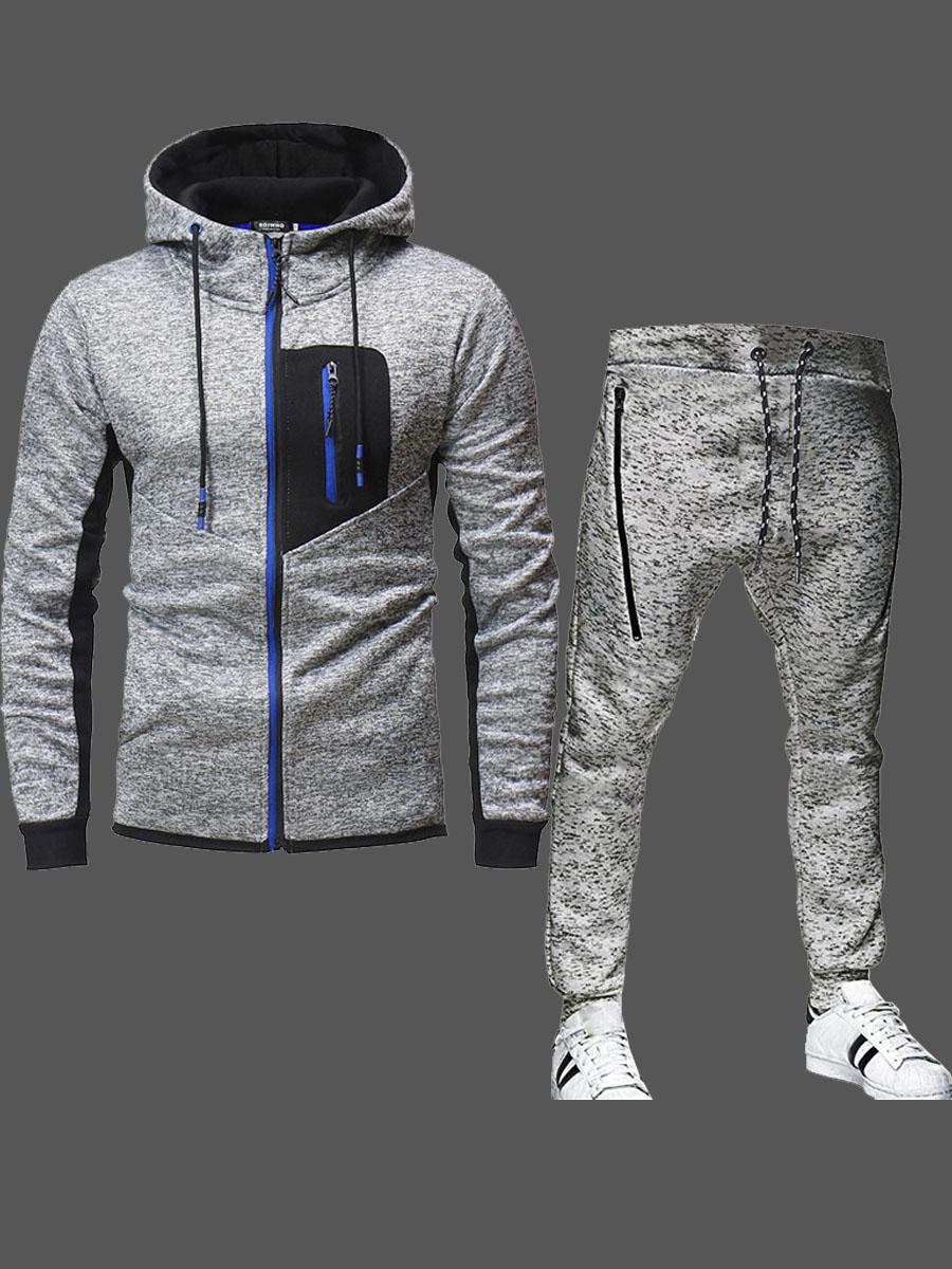 Lovely Sportswear Hooded Collar Zipper Design Patchwork Grey Men Two-piece Pants Set фото