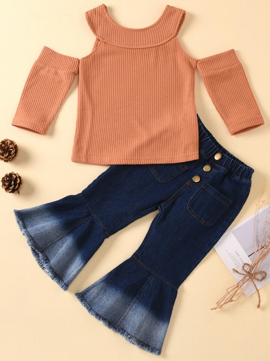 Girls Two-piece Pants Set lovely Trendy Hollow-out Flared Brown Girl Two-piece Pants Set фото
