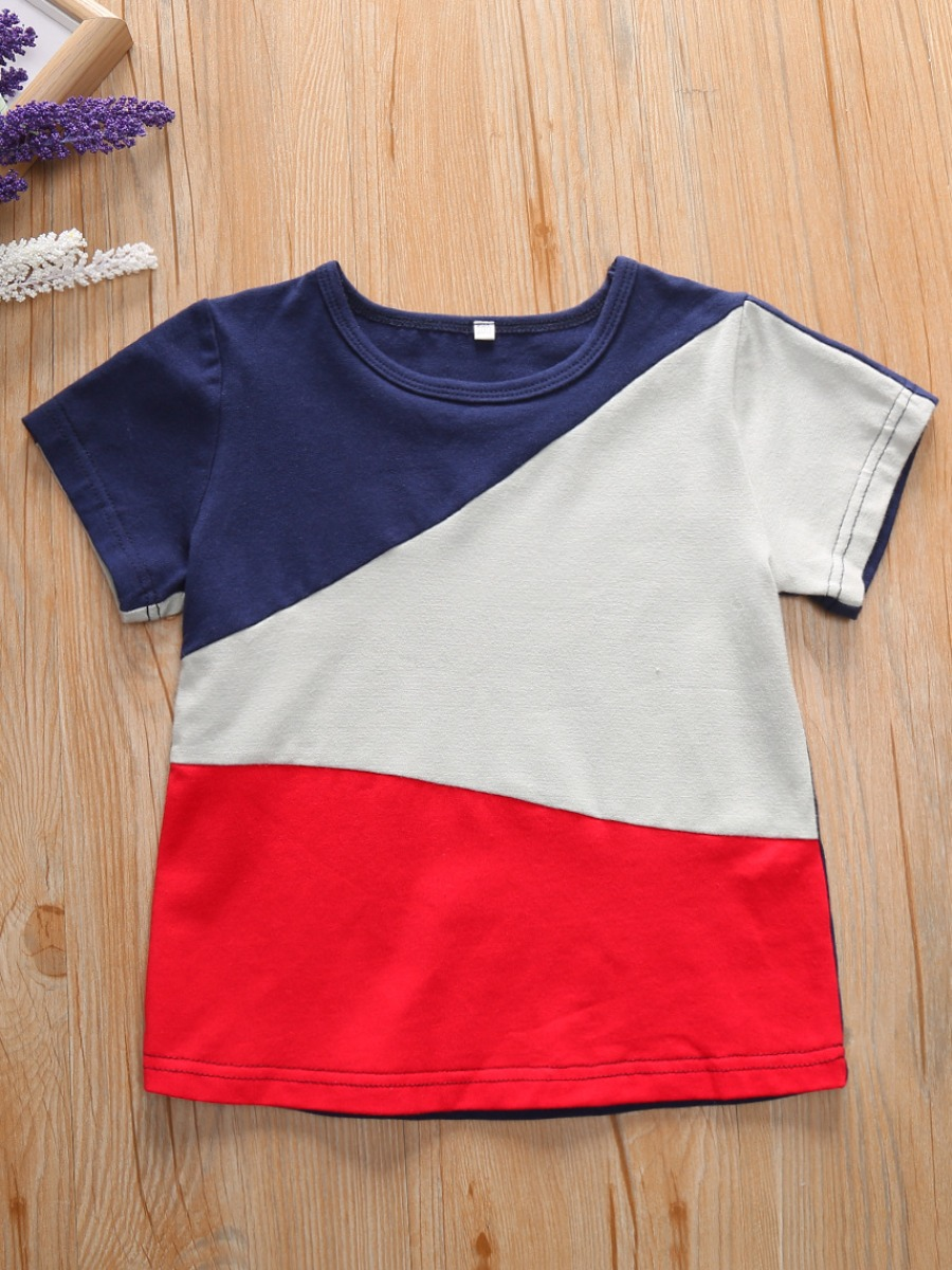 Boys T-shirt lovely Casual O Neck Color-lump Patchwork Blue Boy T-shirt фото