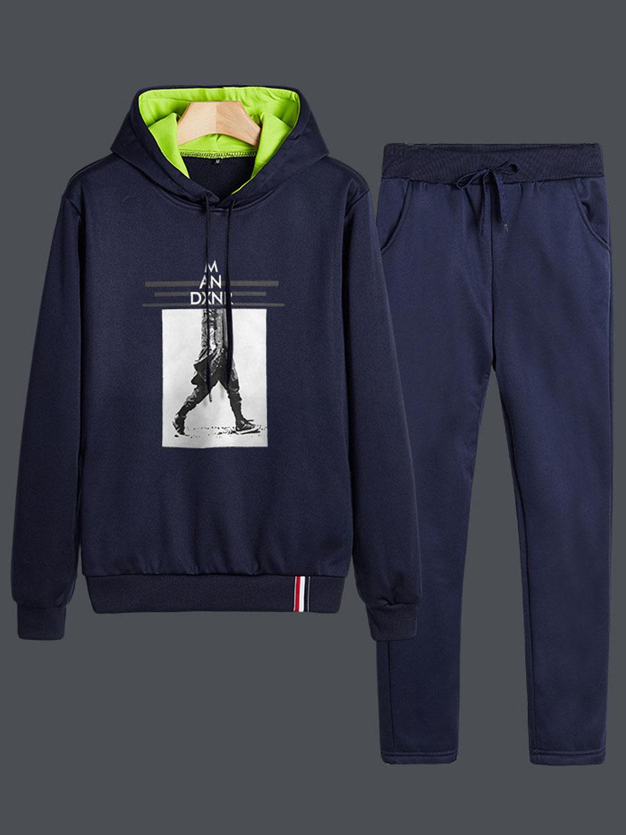 Lovely Leisure Hooded Collar Print Deep Blue Men Two-piece Pants Set фото