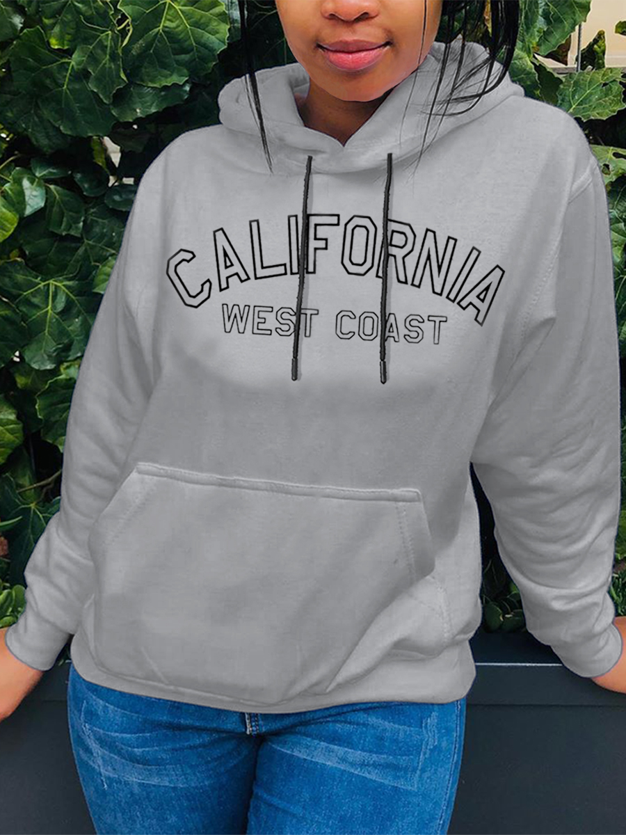 Hoodies Lovely Leisure Hooded Collar Letter Print Grey Hoodie фото