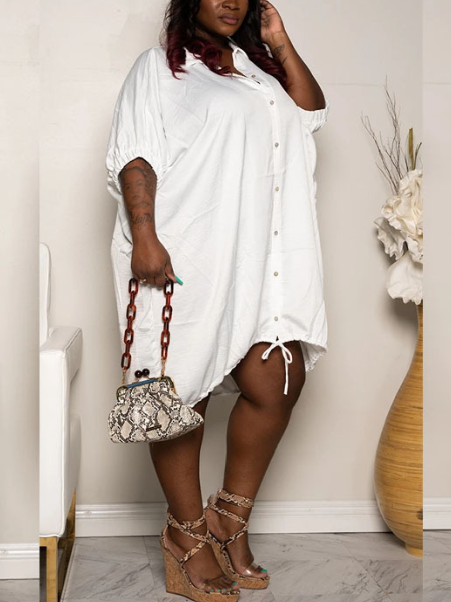 Lovely Casual Turndown Collar Buttons Design Loose White Knee Length Plus Size Dress фото