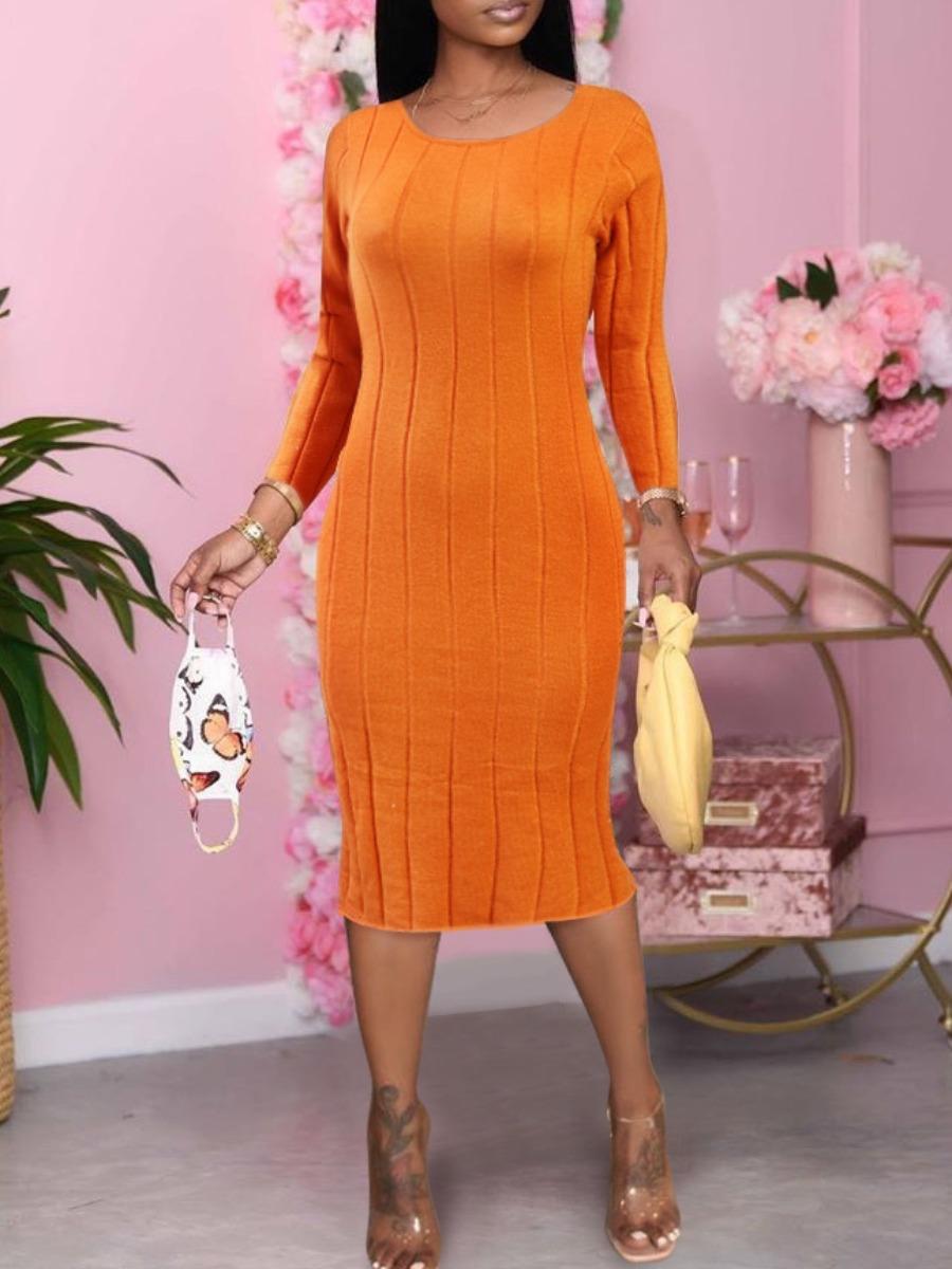 Lovely Sexy Backless Striped Orange Knee Length Dress фото