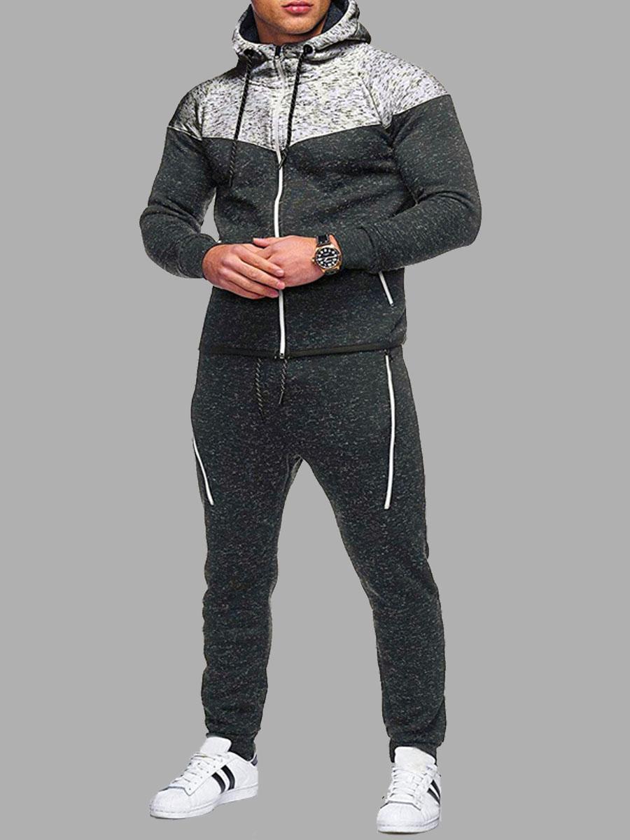Lovely Sportswear Hooded Collar Zipper Design Patchwork Black Men Two-piece Pants Set фото
